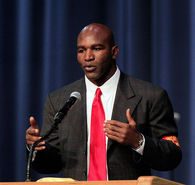 Former heavyweight champion Evander Holyfield speaks at Tuesday's service.