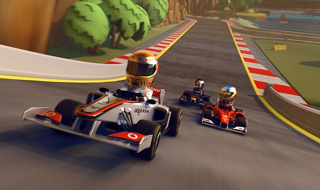 "F1 Race Stars is a good example of a game in search of an audience. There's nothing inherently broken or awful about it, but the kart racing genre has several innovative, top-tier franchises - including this month's LittleBigPlanet Karting, so it's difficult to understand the audience for whom this game is intended. In F1 Race Stars, players assume the personality of one of a sizable group of real-life F1 drivers (and a couple of fictitious ones) rendered in bobblehead form with race karts styled after F1 cars racing through versions of major F1 tracks that look like something out of ""It's a Small World"" crossed with a Hot Wheels set. There's no drift mechanic to speak of - this is F1, so you'll be braking and following racing lines - and the ever-present power-ups are mostly pedestrian. There's online play, but the folks who will get the most enjoyment out of the game are the ones playing against friends on the same couch. That said, they'd almost definitely have more fun with one of the game's competitors. CodeMasters is known for creating some of the richest, most realistic racing simulations on the market, but this one just doesn't work. There's just not enough new here to make the game worthwhile.   Score: 5 out of 10"