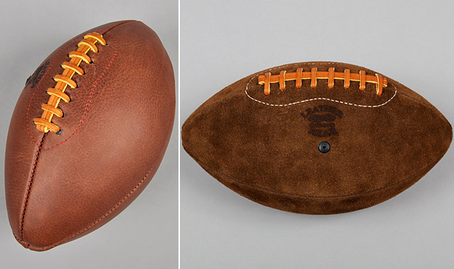 Cast aside the synthetic and Nerf footballs and step up for a game of catch with these handsome handmade items. Available in an array of styles, including genuine leather and suede, these footballs are sporty enough to fit in any Man Cave and classy enough to spruce up any office.   $120-150 at   leatherheadsports.com