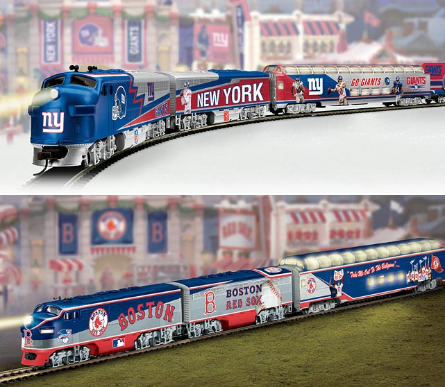 A train is a classic holiday gift that will never go out of style. Plus, this way Santa will be sure to which team you support while he places his presents around the Christmas tree. $75 at   bradfordexchange.com
