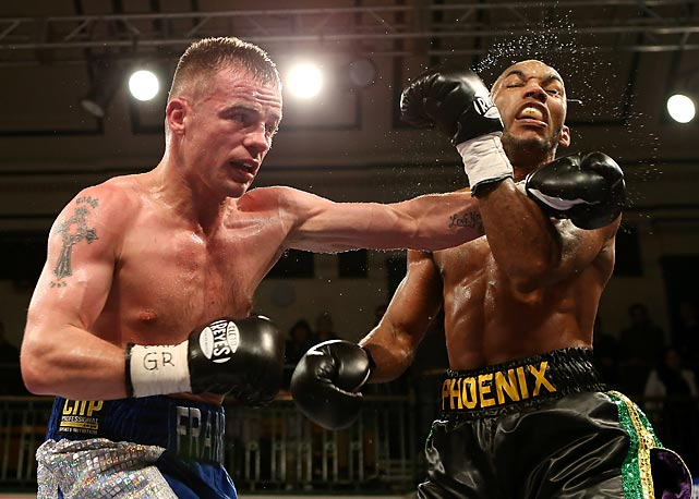Frankie Gavin (left) lands a left hand against Junior Witter during their British welterweight fight at York Hall on Nov. 1 in London.