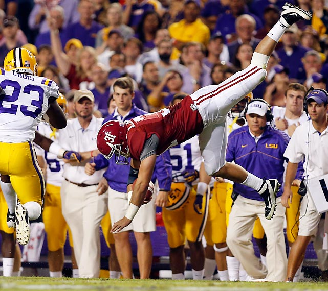 Alabama tight end Kelly Johnson goes airborne during the Crimson Tide's victory over LSU.