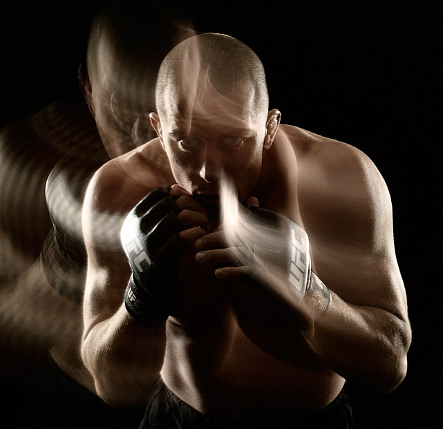 Georges St. Pierre poses during a portrait shoot on February 2, 2007 in Las Vegas, Nevada.