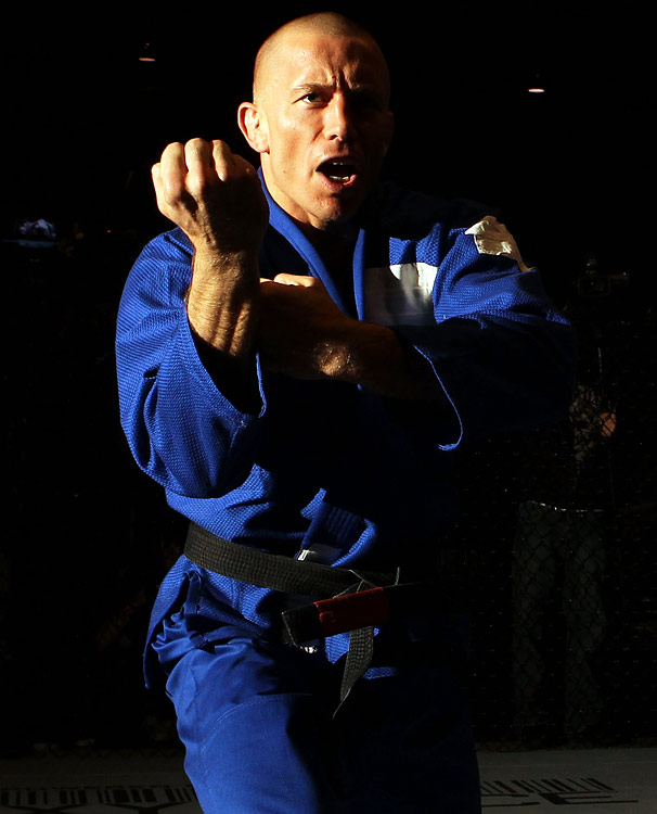 Georges St-Pierre trains during an open workout prior to UFC 129 on April 28, 2011 at the Direct Energy Centre in Toronto, Ontario.