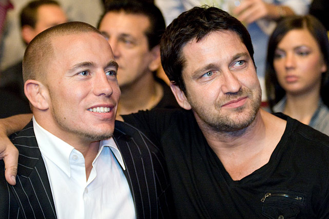 Georges St-Pierre and actor Gerard Butler during UFC 101 at the Wachovia Center on August 8, 2009 in Philadelphia, Pa.