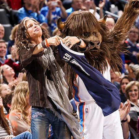 "Steven Tyler: ""The same guy cuts our hair, and I was at the barbershop, and just spur of the moment, I was like, `Sure, I'll go to a game with you, Rumble.'"""