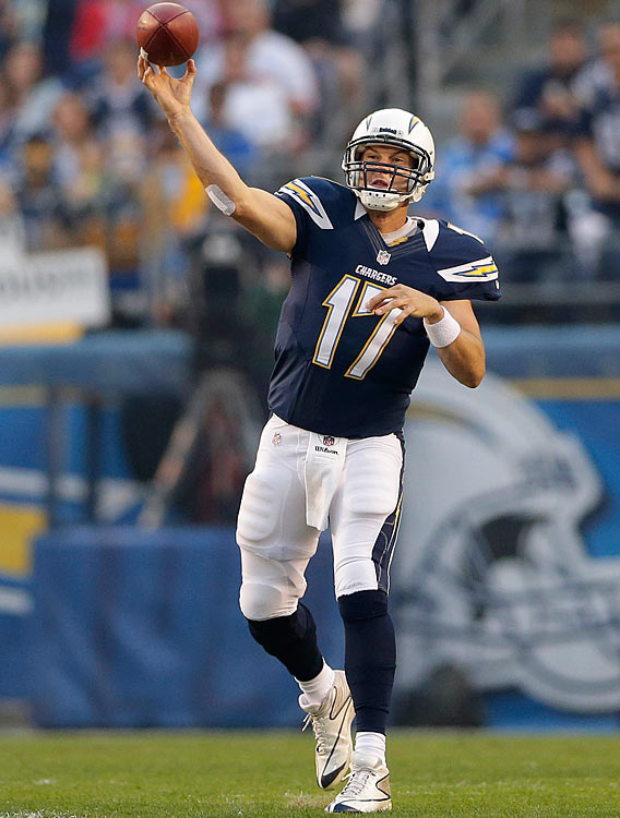 The good news is that Philip Rivers and Vincent Jackson will be on the same field again. The bad news is that this time they'll be on opposite sidelines. The previously struggling Rivers clicked last time out against Kansas City, completing a franchise record 90 percent of his pass attempts (18-for-20), and should do well against a Tampa Bay team that is the league's easiest defense to throw against at 330.6 yards per game.