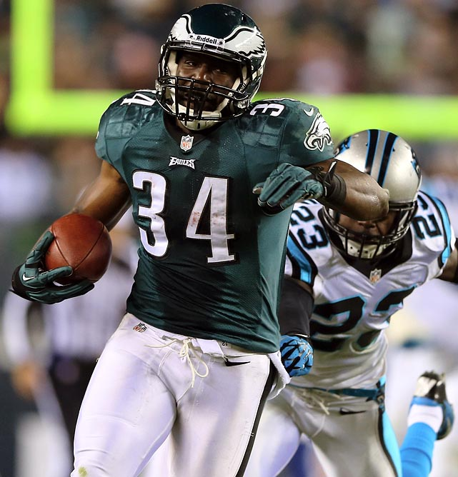 On Monday Brown sliced up the Panthers for 178 yards and two touchdowns on 19 carries, the fifth time this season an Eagles lead back has rushed at least 19 times. Philly's offensive line is still a problem, but Dallas' loss of starting inside linebacker Bruce Carter to injured reserve should be enough to insure another good day from Brown.