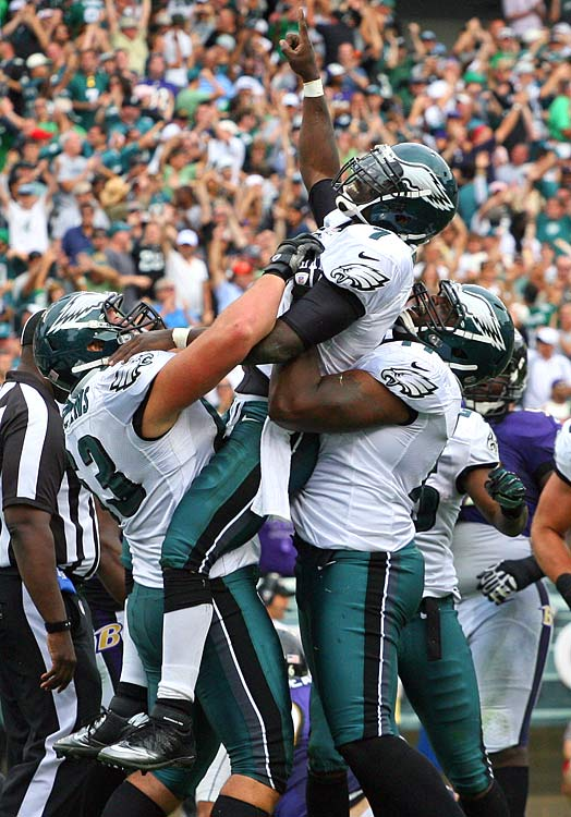 The seesaw battle between two 1-0 clubs tested which team would blink first. Baltimore rookie kicker Justin Tucker hit on 3-of-3 field goals, from 56, 51 and 48 yards, but in the end it would prove not to be enough. The home team overcame four turnovers to win on a 1-yard Michael Vick touchdown run, and Philadelphia moved to 2-0 for the first time since its Super Bowl appearance in 2004.