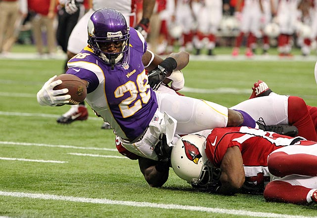 "The league leader in rushing yards despite coming off tears to both the ACL and MCL in his left knee last December, Adrian Peterson is a big reason  the surprising Vikings are competing in the difficult NFC North division. ""All Day"" is without a doubt back in his four-time Pro Bowl form as the only back averaging 100 or more yards per game through nine weeks, and one of only a few running for five or more yards per carry."