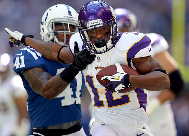 In his fourth NFL season, Percy Harvin is Minnesota quarterback Christian Ponder's top target, atop the league with 62 receptions. The dynamic offensive threat has five touchdowns through Week 9, functioning as the Vikings' primary kick returner and also playing in the rushing game from time to time.