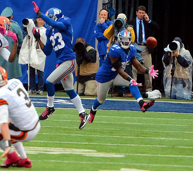 After one-year stints with both the Raiders and Colts in his first two seasons in the league, 25-year-old Stevie Brown seems to have found a more permanent home in New York as the Giants' starting strong safety. The 2010 seventh-round pick out of Michigan has five interceptions and two fumble recoveries for a 6-3, NFC East-leading New York squad ranked second in the NFL in turnover differential at plus-14: 26 takeaways to 12 giveaways.