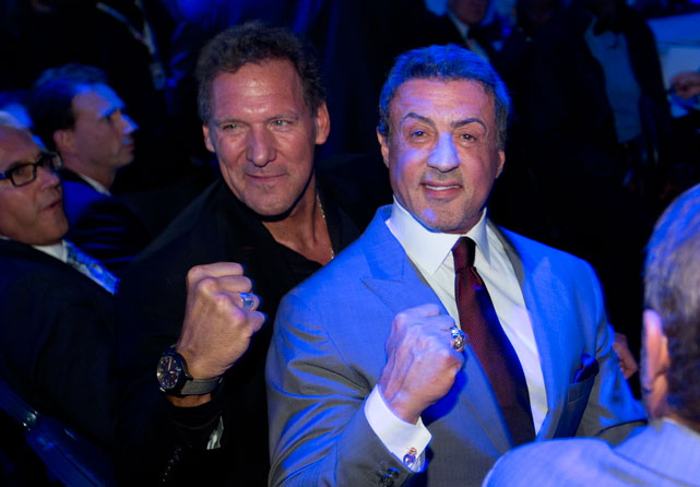 Sylvester Stallone got back in the ring Saturday at the O2 World arena in Hamburg, where he greeted fans before Wladimir Klitschko's  unanimous-decision victory over Mariusz Wach  to defend his IBF, WBA and WBO heavyweight titles. Stallone attended the fight as part of the promotional campaign for  Rocky: The Musical , which opens in Germany on November 18.