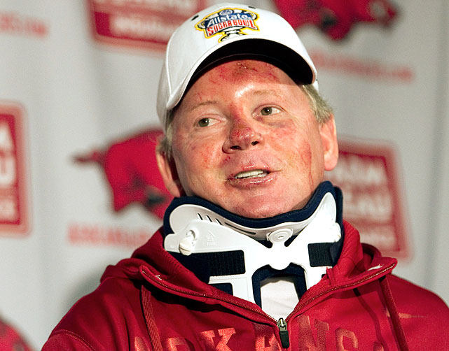 A motorcycle crash on April Fool's Day was the undoing of the Razorbacks' head coach, who was kicked to the curb with no contract buyout nine days later. Apparently, he'd been holding some extramarital tackling and sacking drills on the side and was riding with his sidecar -- mistress Jessica Dorrell, whom he'd questionably hired for a gig in the football department -- when they, according to an eyewitness, literally ended up in a ditch with Petrino's career.