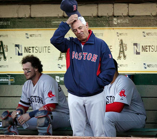 """The 100th anniversary of Fenway Park was dishonored by a fowl season indeed. There was no love lost between Valentine and his players, who were alienated by their new manager's aloof attitude and public criticism. The pitching went to pot, injuries piled up, and the toxic Sox were buried in the basement of the A.L. East for the first time in 11 years, with their worst mark (69-93) since 1965. Valentine became the first BoSox manager since 1934 to wear a pink slip after only one season, but not before his memorable September radio rant in which he told WEEI's Glenn Ordway that he'd """"punch"""" him """"right in the mouth"""" for inquiring if the skipper had """"checked out"""" of the season.   CLICK HERE   to get an earful."""