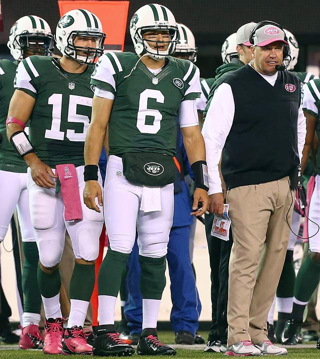 "Rex Ryan's big green wind machine continued to blow, though not as brashly, after a quarterback controversy began with the acquisition of Tim Tebow. As starter Mark Sanchez drew fire during the team's 4-6 start, Tebow was egged by a dozen anonymous team sources, one of whom termed him ""terrible"" in the  New York Daily News . The rival  New York Post  followed with the back page headline ""Talk of the Clowns"" illustrated by the head coach adorned with a bulb-nose and green wig, and offering stories entitled ""Rex rips `cowardly' anonymous Jets"", ""Time for Tim to flee-bow this circus"" and ""The joke's on Ryan."""