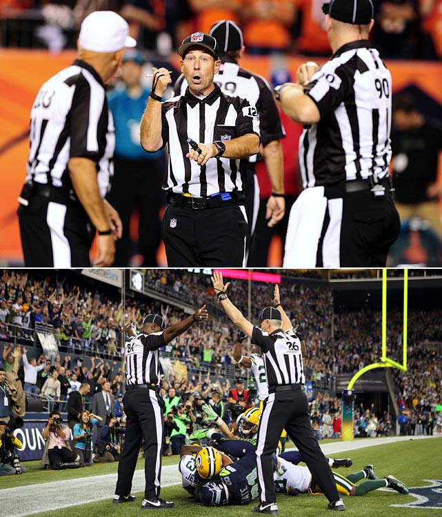 The NFL's use of motley crews of retirees and refugees (including Lingerie Football League castoffs) as scabs in a labor dispute ruffled the feathers of coaches, players, fans and those who placed bets during the first three weeks of the season. The litany of blown calls reached a howling crescendo after the final play of the Seahawks-Packers game on Sept. 24 was ruled an interception by one ref and a TD by another. (The TD stood.) The ensuing manure storm goosed the NFL to reach a deal with its regular officials, who were back at work for the next slate of games.