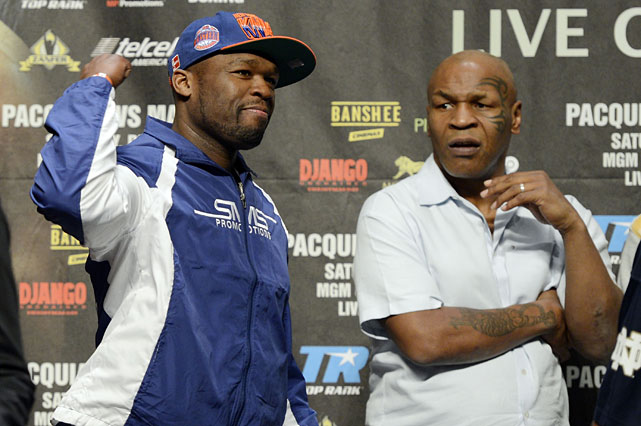 "Rapper-turned-promoter Curtis ""50 Cent"" Jackson observed Friday's weigh-ins alongside former heavyweight champion Mike Tyson."