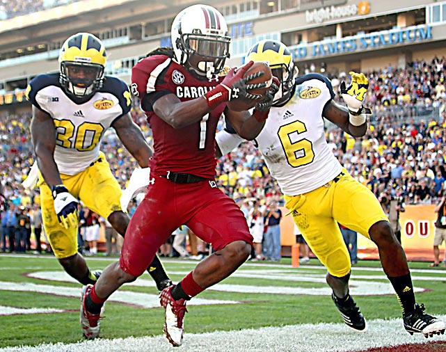 While Clowney's hit will go down as the lasting memory from this season's Outback Bowl, Sanders emerged as the game's top performer. He made nine catches for 92 yards and two scores in addition to breaking a 63-yard punt return for a touchdown late in the first quarter.