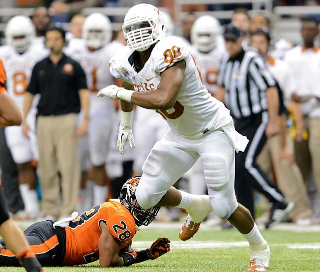 Oregon State led 27-17 at the start of the fourth quarter, but Texas ultimately prevailed thanks to a stifling late defensive effort. Okafor registered eight tackles and an Alamo Bowl-record 4.5 sacks to help the Longhorns hold the Beavers to negative-four yards in the final period.