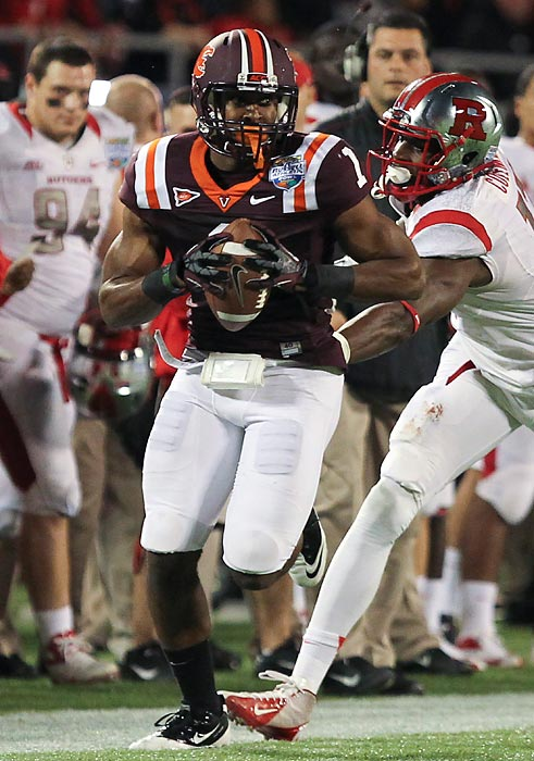 Exum was star both on and off the field during bowl season. First, he spent the $470 Best Buy gift card he received from the Russell Athletic Bowl on three kids from the Bahamas he met in the store. Then, he intercepted Rutgers quarterback Gary Nova early in the fourth quarter to set up the Hokies game-tying touchdown; he eventually won game MVP honors.