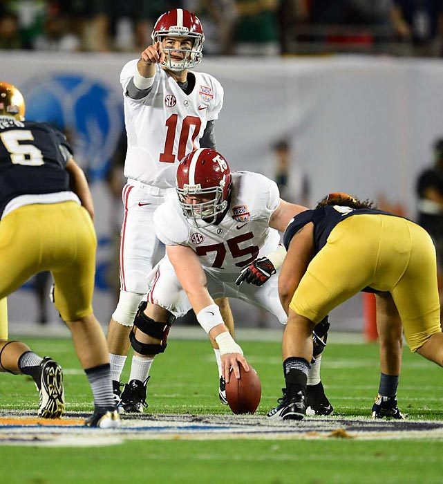 Perhaps the most versatile offensive lineman in Crimson Tide history, Jones won his third national championship from his third different position (right guard, left tackle and center) on Jan. 7. He got involved in a brief fourth-quarter screaming match with Alabama quarterback AJ McCarron, but Jones' play did most of the talking: He provided the time necessary for McCarron to throw for 264 yards and four touchdowns.