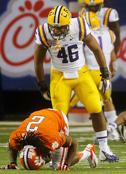 The Tigers' top linebacker left a striking final impression. Though LSU lost a heartbreaker in the final seconds to Clemson, Minter collected a team-high 19 tackles and a sack before declaring for the 2013 NFL draft on Jan. 13.
