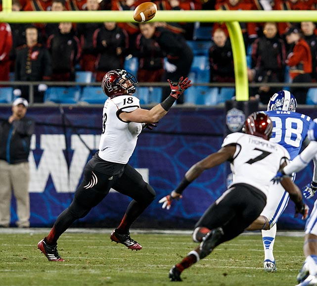 Relatively quiet for most of the game, Kelce made the biggest catch of the Bearcats' season -- and the longest in Belk Bowl history -- with less than a minute remaining in the fourth quarter. The redshirt senior snuck behind Duke's defense for an 83-yard catch-and-run, a play that all but wrapped up Cincy's wild win in Charlotte.
