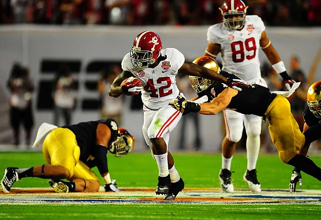 Lacy's 20-yard touchdown sprint happened just three minutes into the game, a quick start for the defending champion Tide.