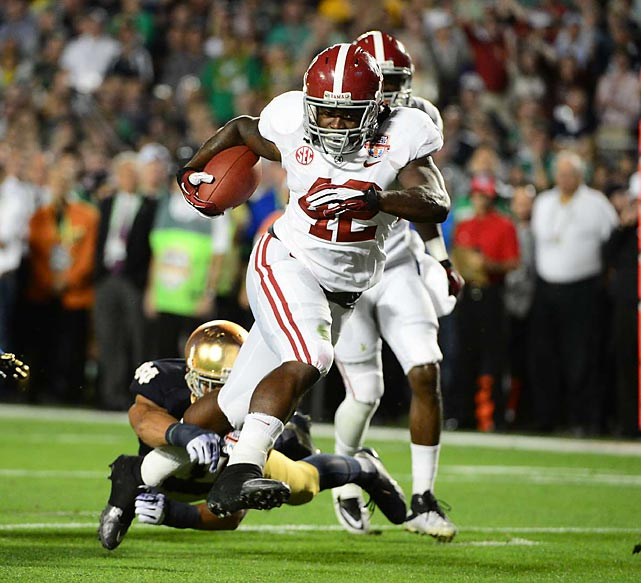'Bama back Eddie Lacy started the scoring with a 20-yard touchdown run in the first quarter.