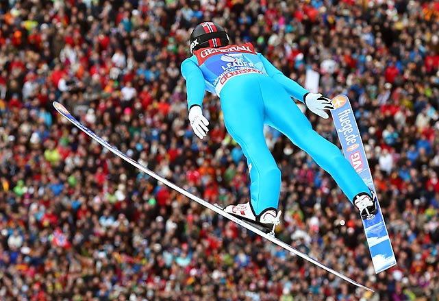 Anders Jacobsen of Norway flies through the air during the final round for the FIS Ski Jumping World Cup event of the 61st Four Hills Tournament in Garmisch-Partenkirchen, Germany, on Jan. 1.
