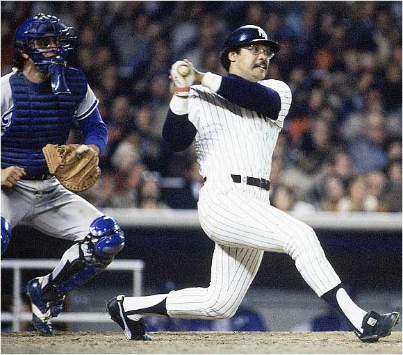 Reggie Jackson homered in three consecutive at-bats in Game 6 against the Dodgers to clinch the Yankees' first World Series title since 1962.
