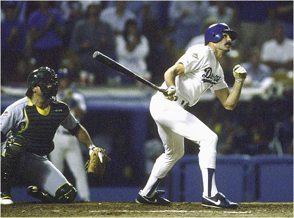 Kirk Gibson shocked the A's -- and the baseball world -- with his pinch-hit, game-winning home run in the bottom of the ninth off Dennis Eckersley in Game 1. It was Gibson's only at-bat of the Series, which the Dodgers won in five games.