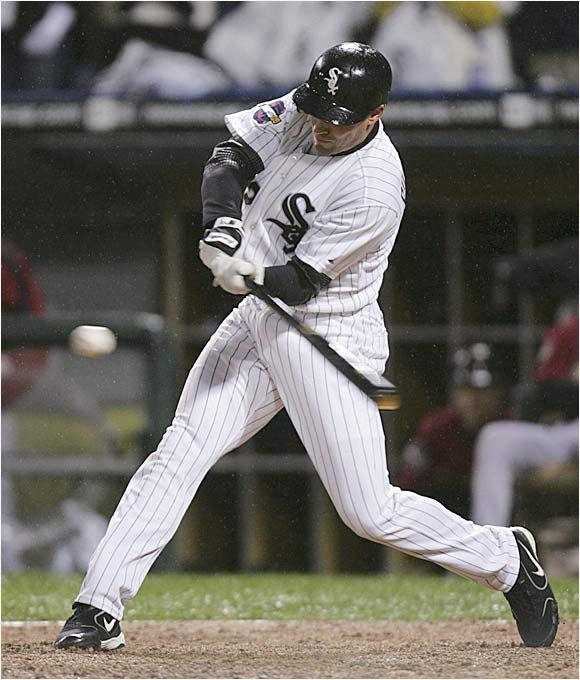 The White Sox' scrappy leadoff hitter, Scott Podsednik, hit zero home runs during the regular season but gave Chicago a 2-0 World Series edge with this shocking blast off Houston closer Brad Lidge in the ninth at U.S. Cellular Field.