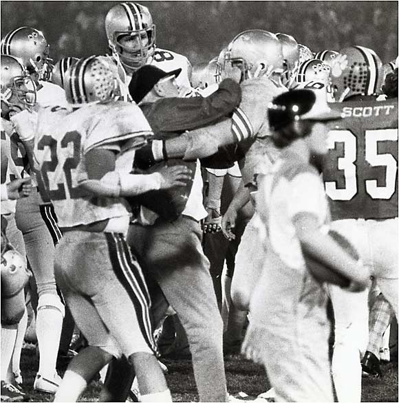 The punch that ended the legendary Ohio State coach's career occurred on Dec. 30, 1978. Clemson defensive back Charlie Bauman ran across the field to pick off an Ohio State pass when Hayes inexplicably punched him on the Buckeyes' sideline. The move cost Hayes his job.