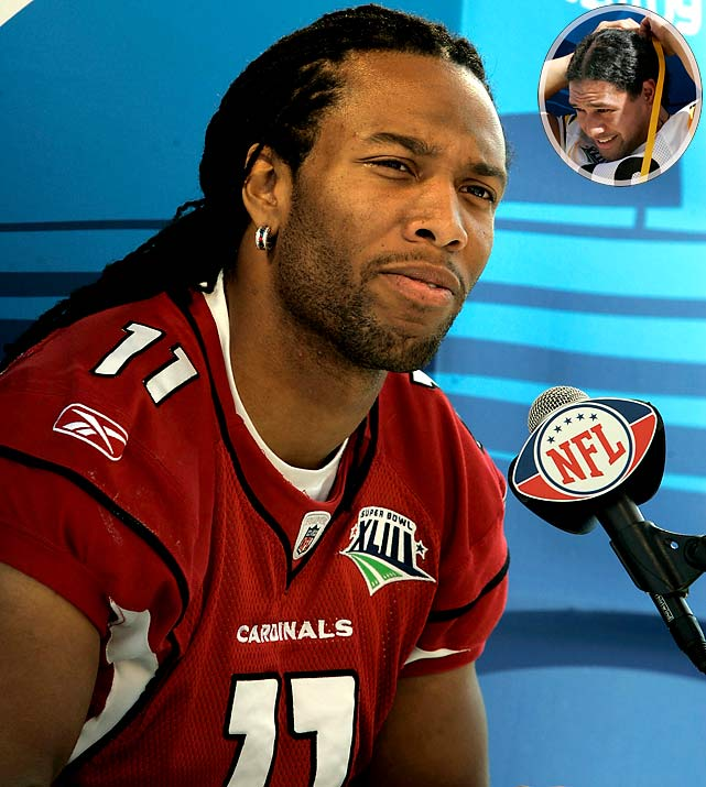 """Arizona Cardinals wide receiver Larry Fitzgerald was asked by an Access Hollywood reporter, """"Who has the better hair, you or Steelers safety Tony (sic) Polamalu?"""""""