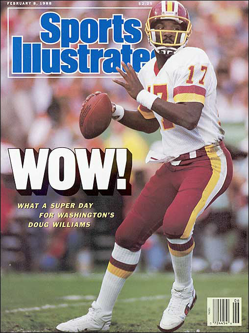 """To Redskins QB Doug Williams: """"So how long have you been a black quarterback?"""" This is now widely debunked as an urban legend, but the following <i>was</i> asked: <br>""""Doug, would it be easier if you were the second black quarterback to play in the Super Bowl?"""""""