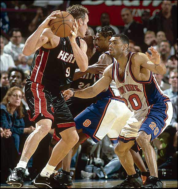 This matchup, which came after a 50-game, lockout-shortened regular season, will forever be remembered as one of only three series in which a No. 8 defeated a No. 1. The Knicks (27-23) won two games in Miami (33-17), capped by a memorable Game 5 in which Allan Houston put up a runner in the lane that bounced off the backboard and the rim before falling in with 0.8 seconds left to give the Knicks a 78-77 win.