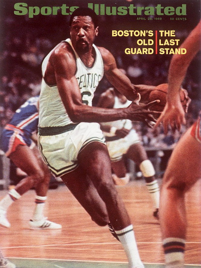 The aging Celtics, with player-coach Bill Russell and fellow 35-year-old Sam Jones, slumped (by their standards) to a 48-24 record and fourth-place finish in the Eastern Division during the regular season. But after getting past the Philadelphia 76ers (55-27) and New York Knicks (54-28) in the East bracket to reach their 11th Finals in 13 seasons, the Celtics won a seven-game series with a Lakers team (55-27) comprised of Jerry West, Elgin Baylor and Wilt Chamberlain, who was in his first year with Los Angeles. Russell, the NBA's greatest winner, retired as a player after winning his 11th title.