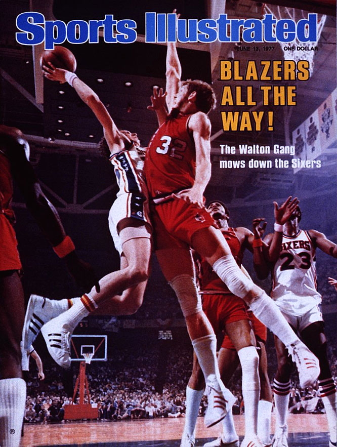 Although only one game separated the two teams in the regular season, the star-studded 76ers of Julius Erving and George McGinnis were considered heavy favorites against Bill Walton, Maurice Lucas and the young Blazers, a last-place team the previous season. After dropping the first two games in Philadelphia -- and taking part in a brawl late in Game 2 that many believe was the turning point in the series -- the Blazers ripped off four consecutive victories to secure the franchise's first and only title. Walton was named Finals MVP.
