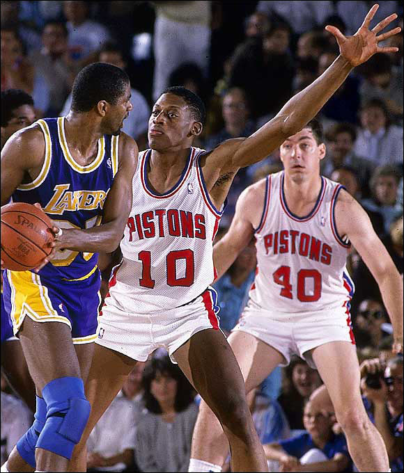 Unheralded out of NAIA's Southeastern Oklahoma State, the 6-foot-8 Rodman led the NBA in rebounding seven consecutive years from 1992-1998. He also won five championships (two with Detroit and three with Chicago) and was named Defensive Player of the Year twice. Rumor has it he was a colorful character, too.