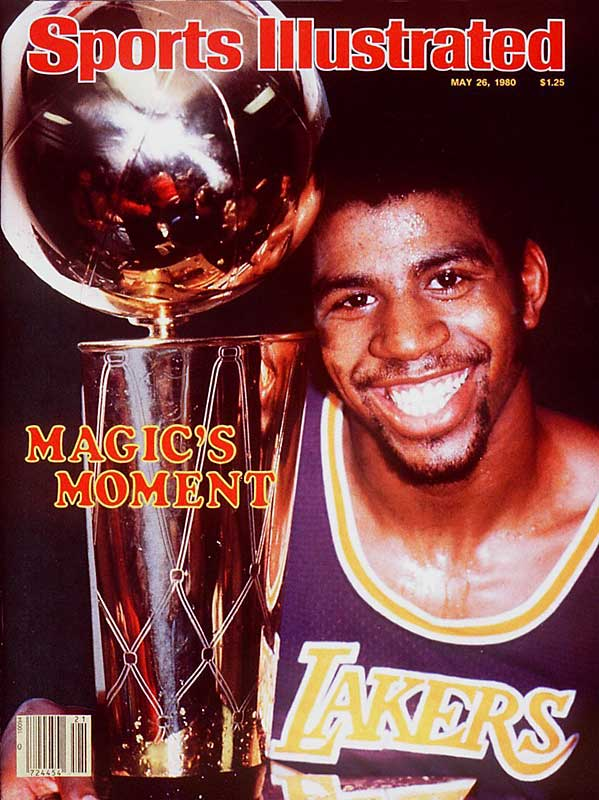 To offset Kareem Abdul-Jabbar's ankle injury, Magic moved to center and guided the undersized Lakers to a championship-clinching  road win over the 76ers. The rookie Johnson scored 42 points and grabbed 15 boards.