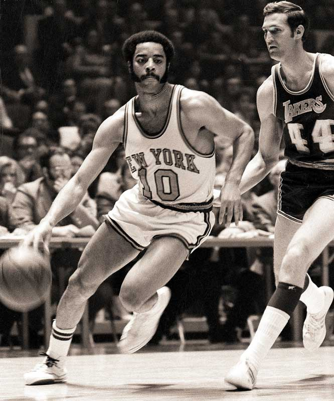 An injured Willis Reed made a dramatic entrance and scored two immediate baskets, further energizing the crowd at Madison Square Garden. He then watched Walt Frazier (pictured, 36 points, 19 assists) and the Knicks throttle the Lakers to win the championship.
