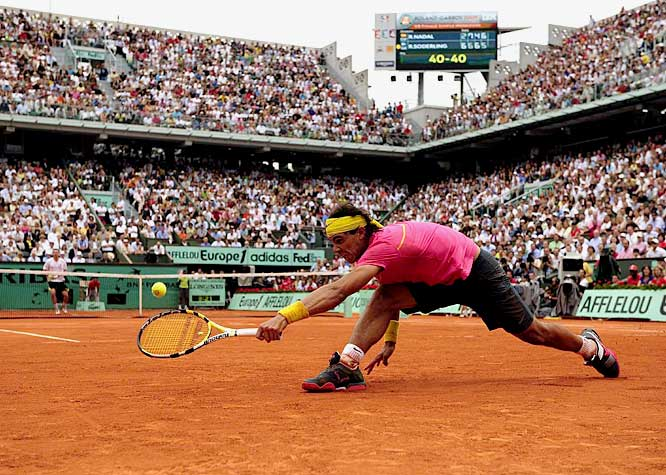 For 31 matches, dating to his debut on May 23, 2005, Nadal never truly was challenged, much less defeated, at the French Open, allowing him to win four consecutive titles and close in on becoming the first player in history with five in a row. Until the fourth round of the 2009 French Open, when 23rd-seeded Robin Soderling, a 24-year-old from Sweden who never had won so much as a third-round match at any major tournament before this one, defeated Nadal 6-2, 6-7 (2-7), 6-4, 7-6 (7-2).  Soderling finished with 61 winners, 28 more than Nadal, and won the point on 27 of 35 trips to the net.
