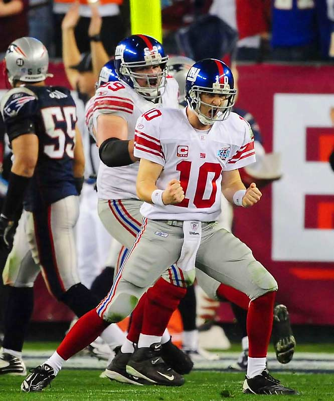 The other Manning connected with Plaxico Burress on a 15-yard fade with 35 seconds left, clinching a monumental 17-14 upset for the Giants while cementing his Super Bowl legend.