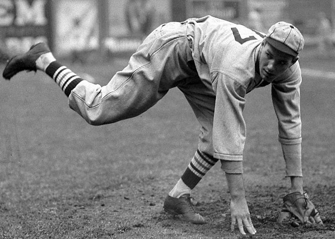 Putting the gas in the Cardinals' ''Gas House Gang,'' Dean had four 20-win seasons, four consecutive NL strikeout titles (1932-35) and was elected into the Hall of Fame in 1953. He was 30-7 with a 2.66 ERA in 1934, winning the MVP award.<br><br>Runner-up: Mark Grace<br><br>Worthy of consideration: <br>Lance Berkman, Todd Helton, Vic Raschi, and Brandon Webb