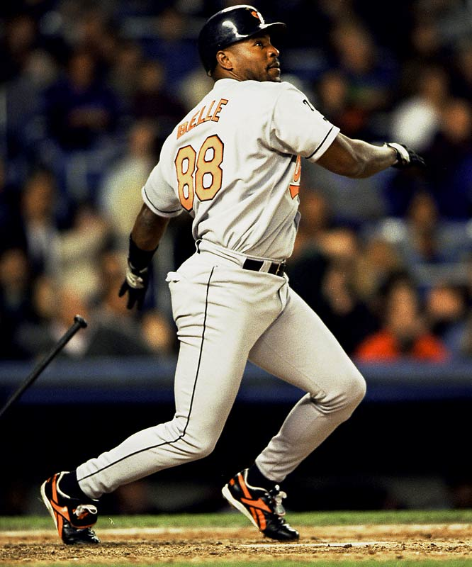 Wearing No. 88 for the Orioles in 1999 and 2000, Belle hit 60 homers and drove in 220 RBIs over two seasons. During his 12 seasons in the majors, Belle hit 381 homers and had a .564 slugging percentage, which ranks 17th all-time.
