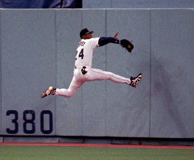 Griffey quickly became one of the best defensive players in the game, winning 10 consecutive AL Gold Glove awards from 1990 to '99. On this catch in May 1995, Griffey broke his wrist and missed 73 games.