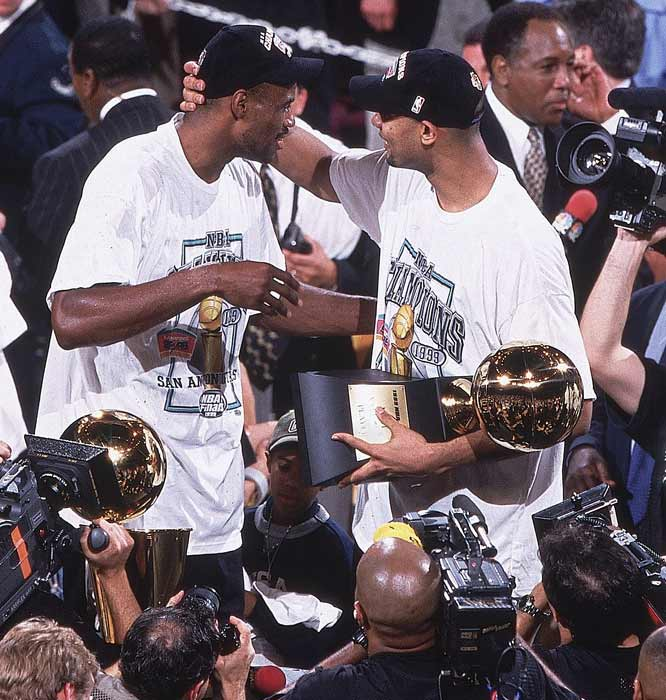 Two years to the day after the San Antonio drafted Tim Duncan, the Spurs beat the Knicks in five games to win their first NBA championship.