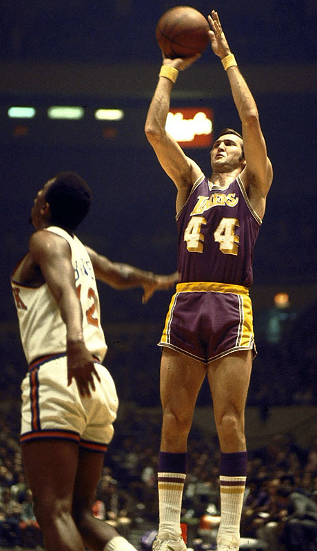 Here's how good Mr. Clutch was: He pushes Kobe Bryant over to another position on my team. Zeke from Cabin Creek played in that era when guards were just guards, and he and backcourt mate Gail Goodrich both shot and passed without thinking about who was doing what. On this team, with Magic throwing him the ball, West's scoring would increase exponentially.